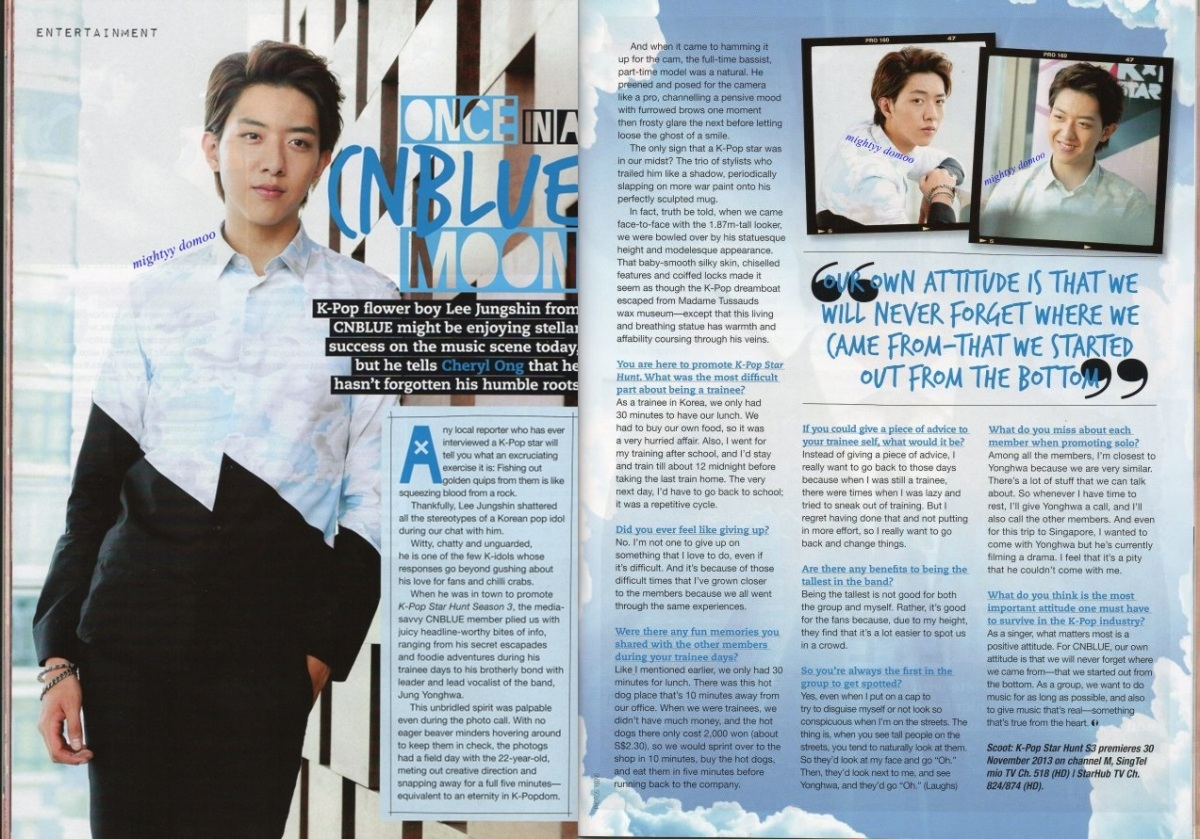 CNBLUE Lee Jungshin on EPOP Magazine Singapore Edition